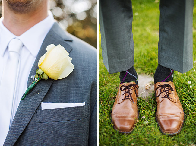 Groom's Grey Suit Brown Shoes