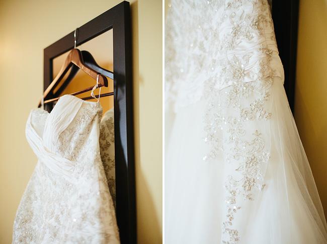 wedding dress and mirror