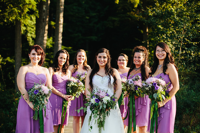 bridesmaids on the dock
