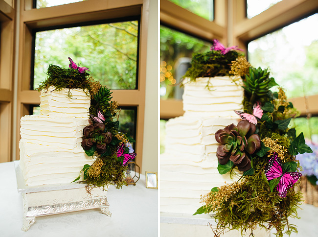 Moss and Butterflies Wedding Cake