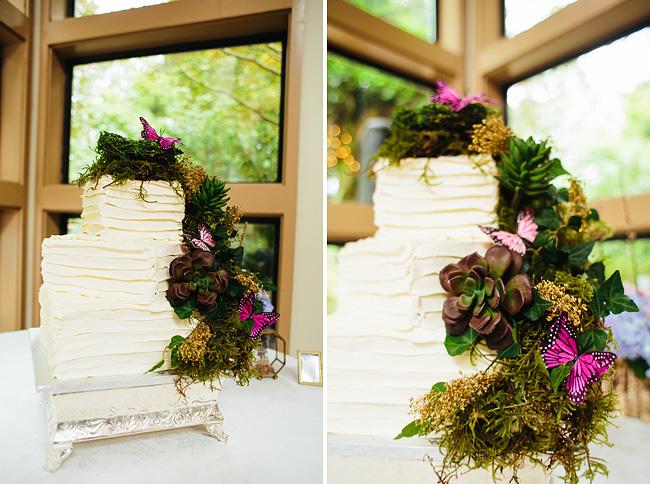 Moss and Butterflies Wedding Cake