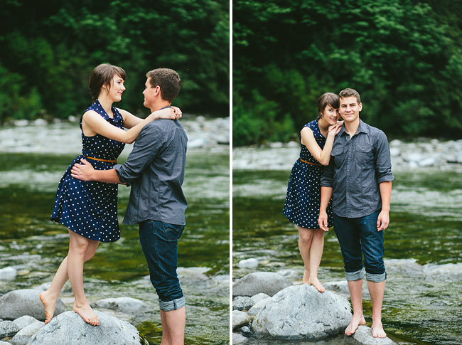 river rocks engagement session