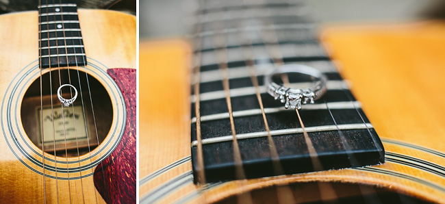 engagement ring on guitar