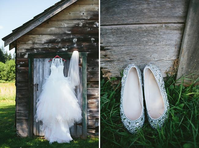 Wedding dress on a Maple Ridge barn