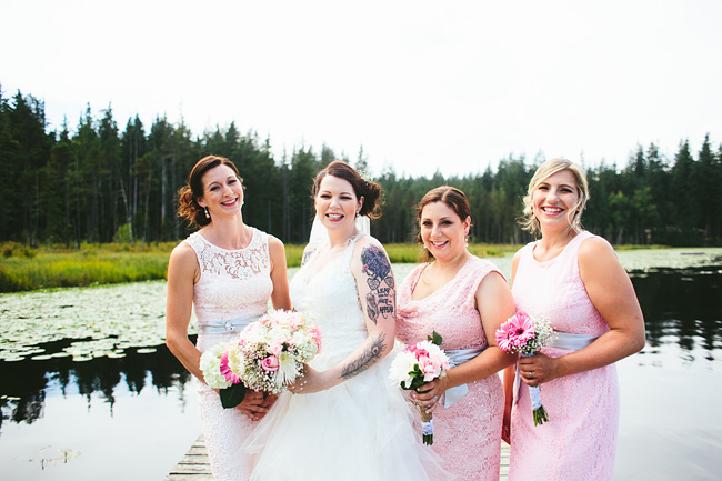 Bridesmaids at the lake