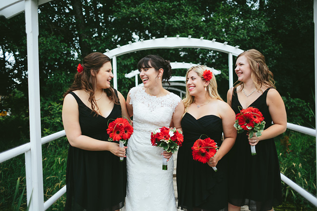 black and red bridal party
