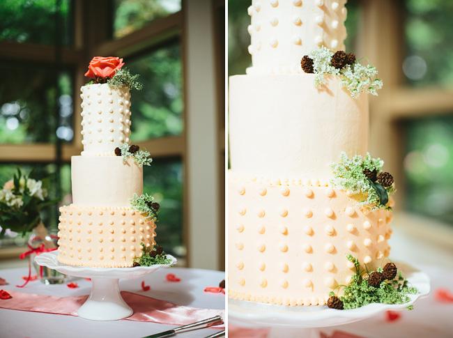Polka Dot Pine Cone Wedding Cake