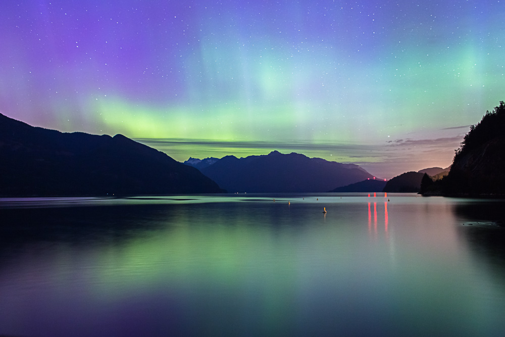 Northern Lights at Porteau Cove, British Columbia
