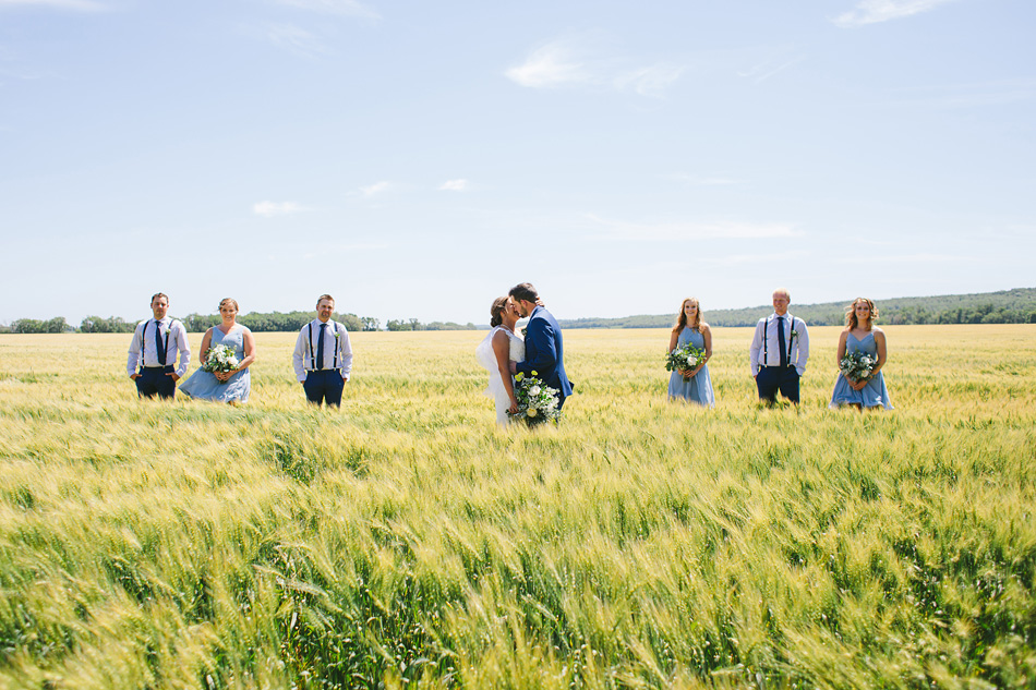 Bridal Party in Manitoba Wheat Field