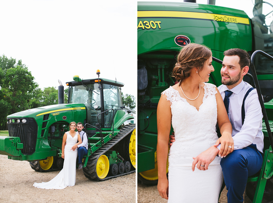 Bride and Groom with John Deere Tractor