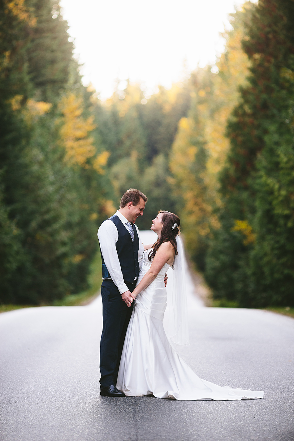 Fall Wedding Portrait on Road