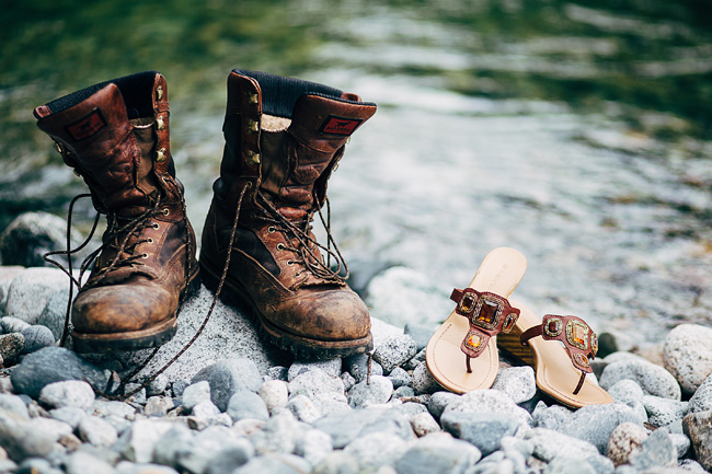 shoes beside the river