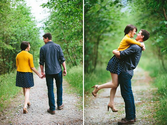 yellow cardigan engagement photo