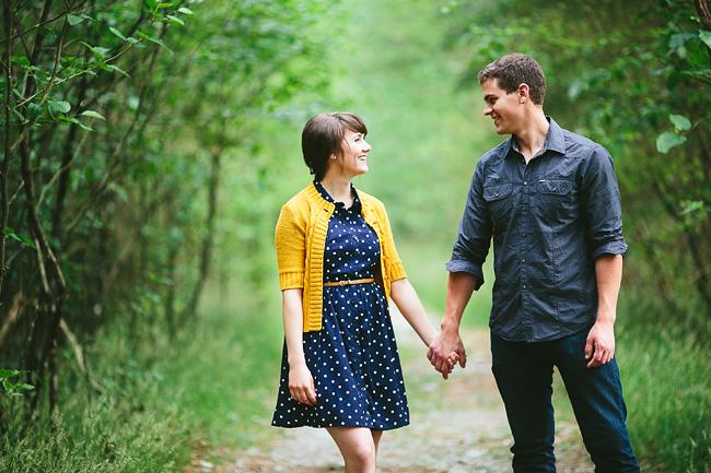 yellow cardigan engagement photos