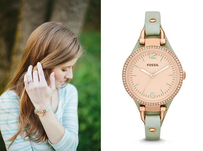 Mint Leather Georgia Fossil Watch