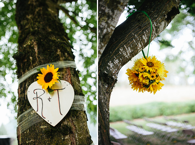 flowers hanging from tree wedding