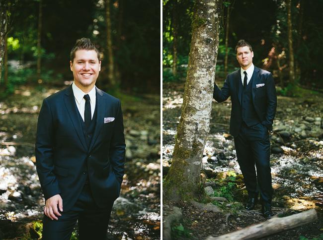 groom portrait by creek