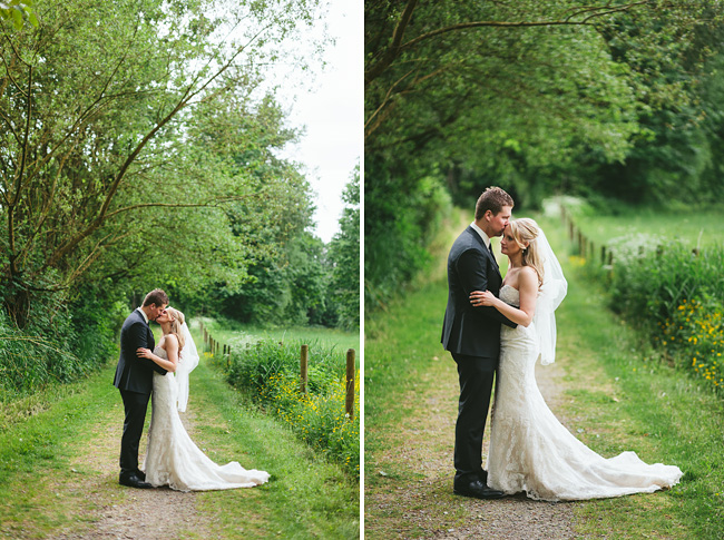 bride and groom on path abbotsford