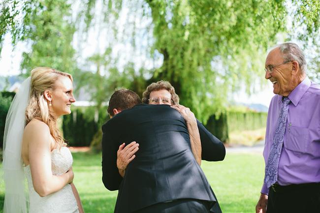 grandparents hug wedding photo
