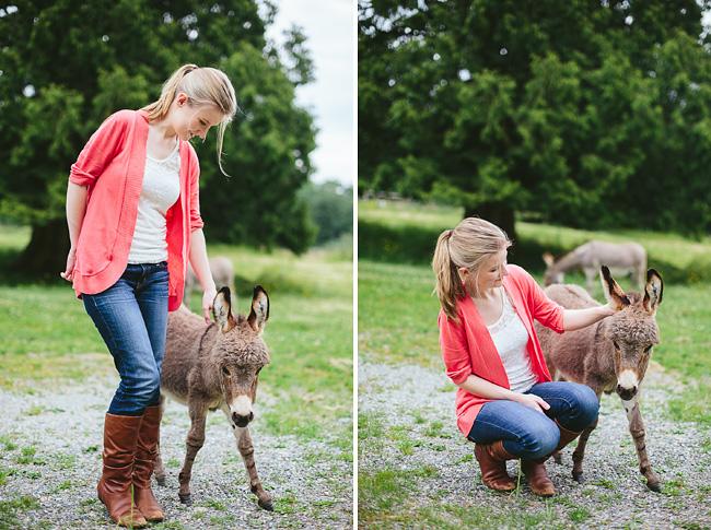 alyssa schroeder with baby donkey