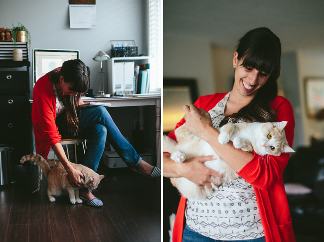 blogger photo with cat in office
