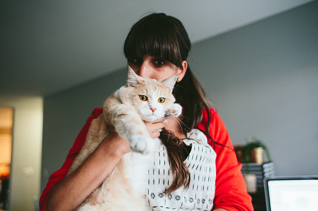Graphic Designer with Cat