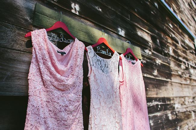 Pink Bridesmaid Lace Dresses