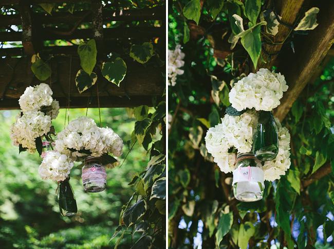 Hanging mason jars wedding