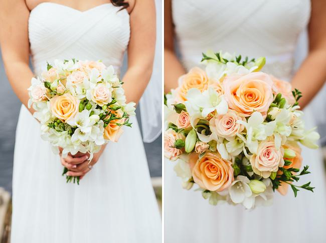 Coral Peach Rose Wedding Bouquet