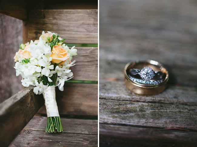 Rustic Wedding Bouquet and Tacori Rings