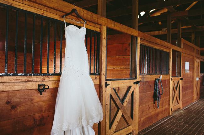 Wedding Dress in the Barn