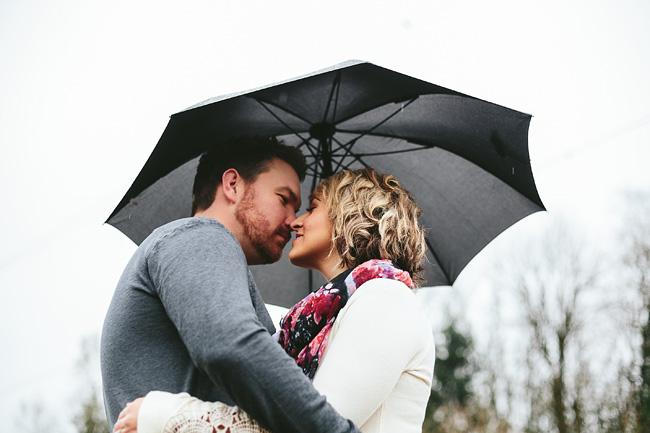 Rainy Umbrella Engagement Photo