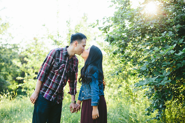 Kissing at Sunset in a Field