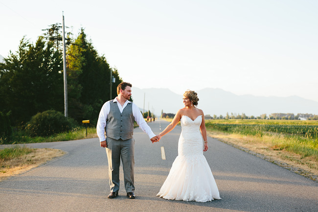 Country Road Wedding Photo at Sunset