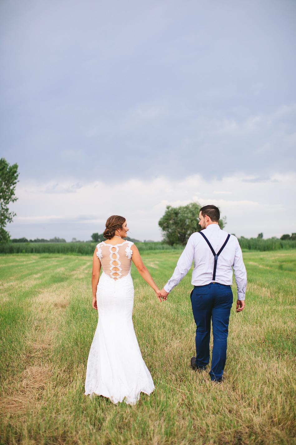Walking in Field Wedding